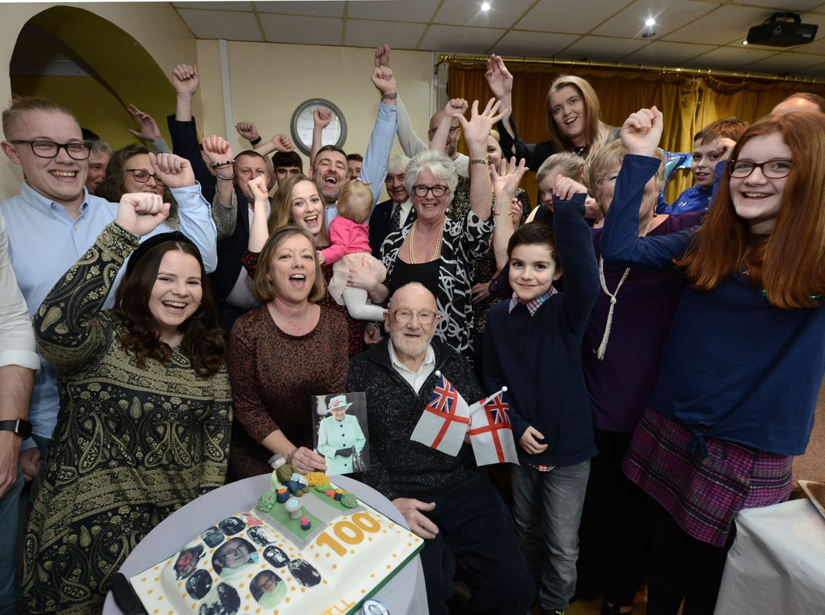 Second World War veteran Bill Judd pictured with family as he celebrates his 100th birthday at Market Drayton Royal British Legion