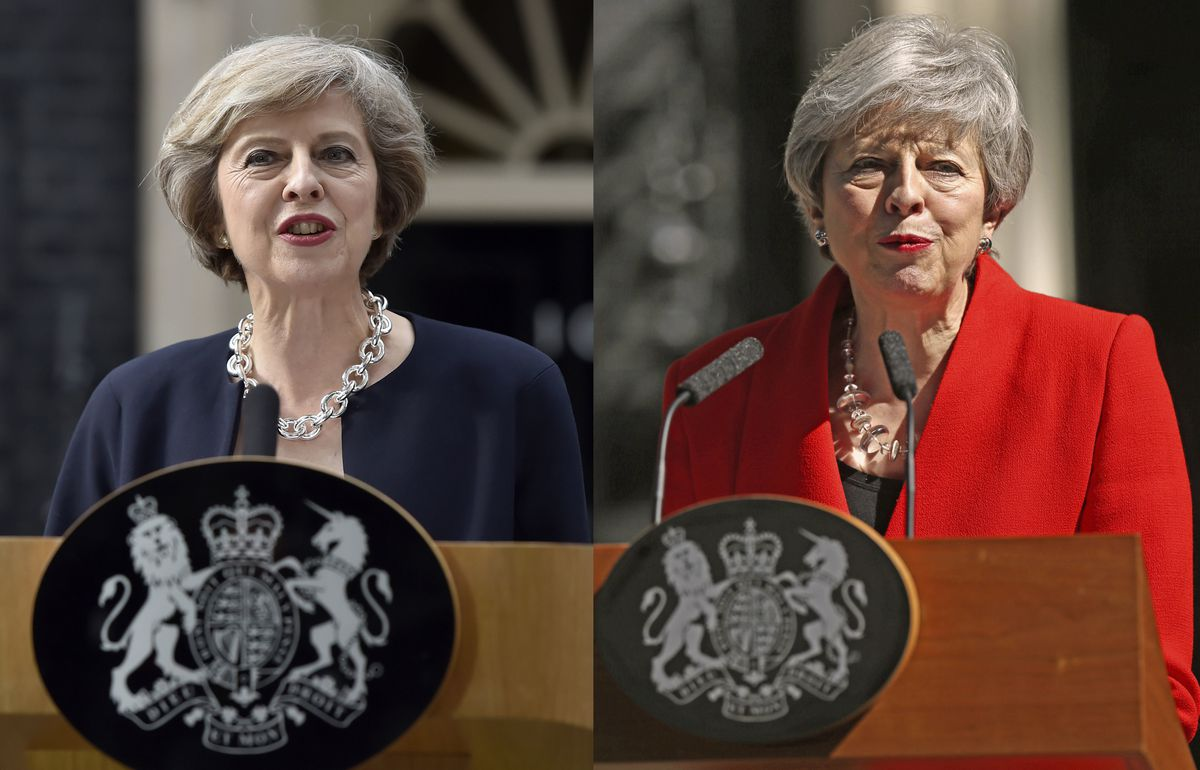 Left: Theresa May on the day she became PM in July 2016. Right: Announcing her resignation as Tory party leader