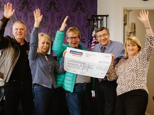 Jenny Davies hosted a Motown night and raised over £1000 for the RJAH in Oswestry. Pictured are DJ Russ Reeves, Avril Davies, Jenny Davies, Dr Ayman Askarim from the Orthopaedic Hospital and Ruth Davies..