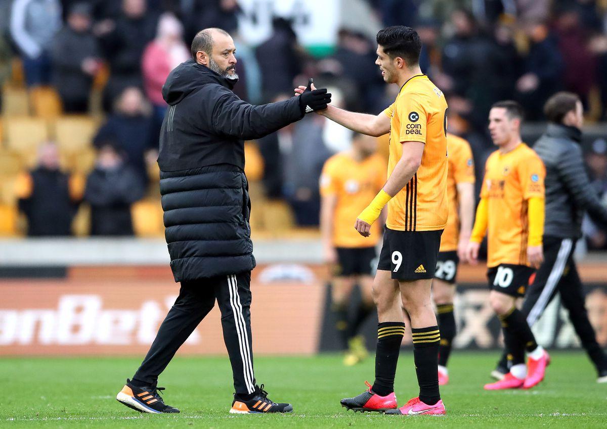 Wolves boss Nuno Espirito Santo and Raul Jimenez shake hands (PA)
