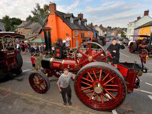 Joe Black and Sam Evans with Spider the fairground Steam Engine at Bishop's Castle's Michaelmas Fair
