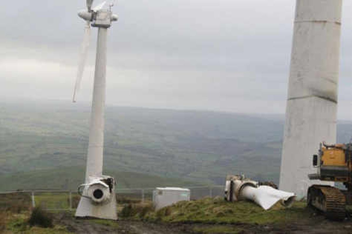Engineers investigate after wind turbine ripped apart