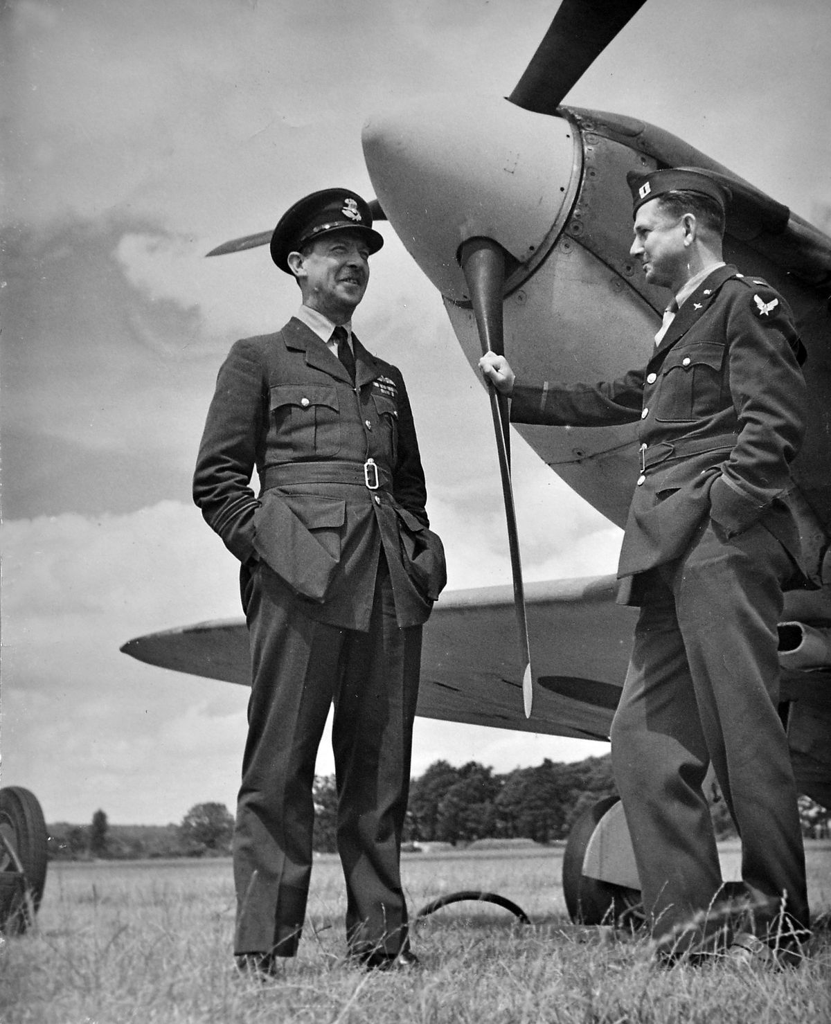Sir Richard Leighton, who acted as the RAF's liaison officer with the Americans at Atcham airfield, with an American counterpart. A Spitfire forms the backdrop. Picture courtesy of Sir Michael Leighton.