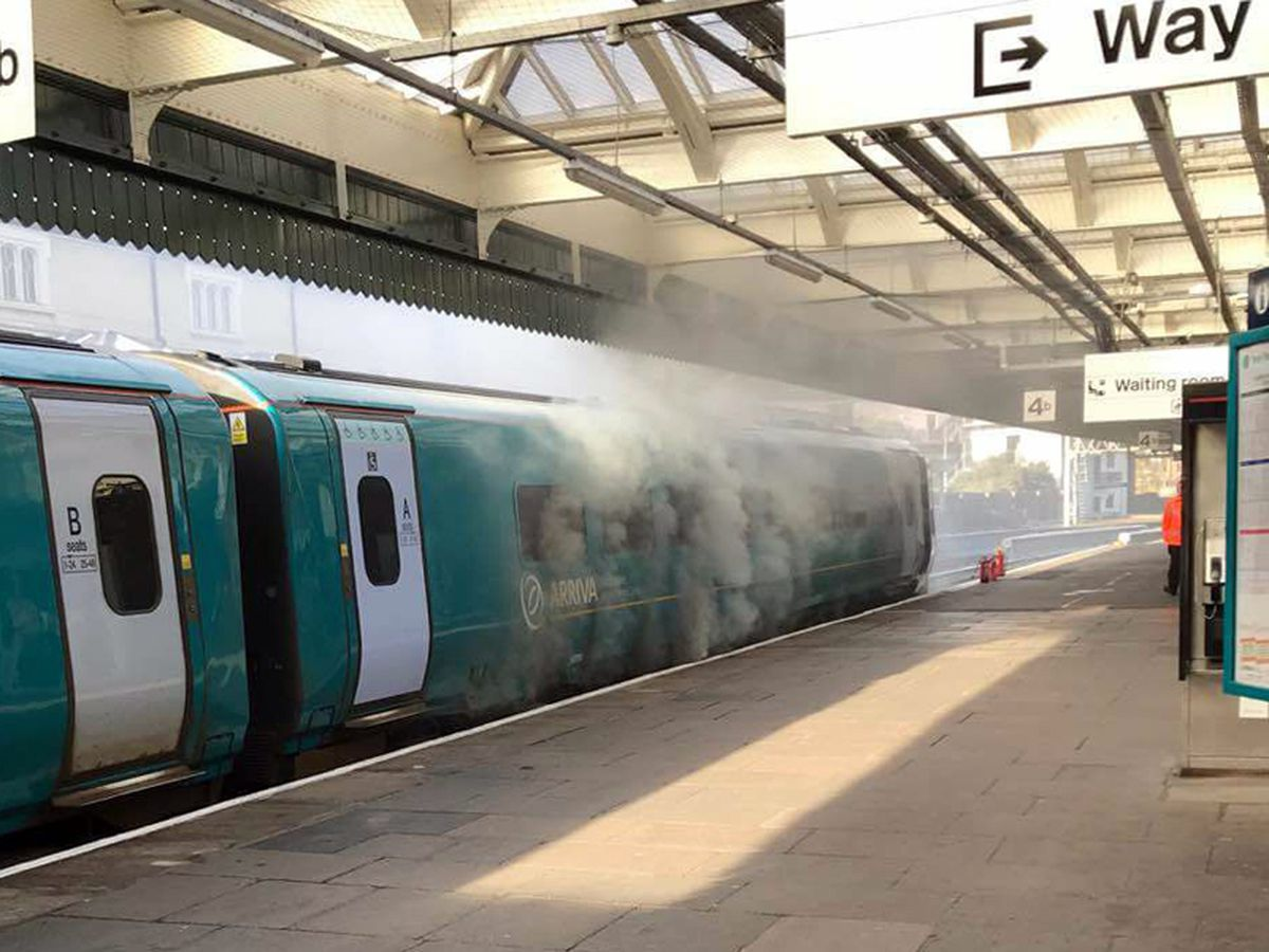 Smoke was billowing from the train. Picture: Ade Sandercock