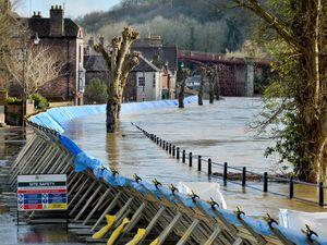 River Severn flooding in Ironbridge in January 2021