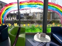 Rainbow and flowers at Shropshire hospital in support of frontline workers