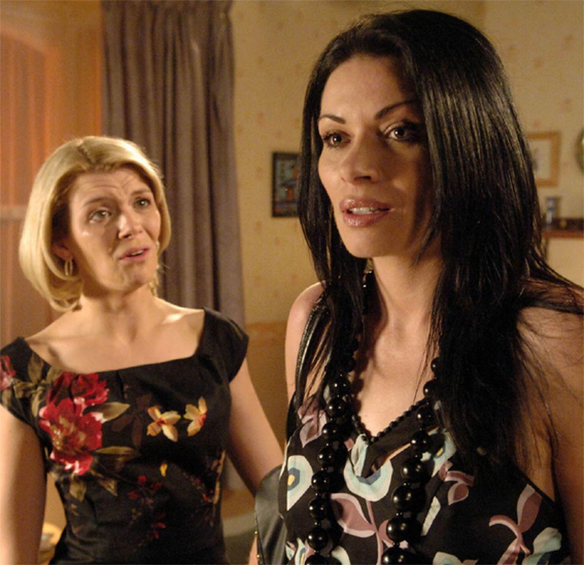 Alison King as Carla Connor and Jane Danson as Leanne Battersby in Coronation Street