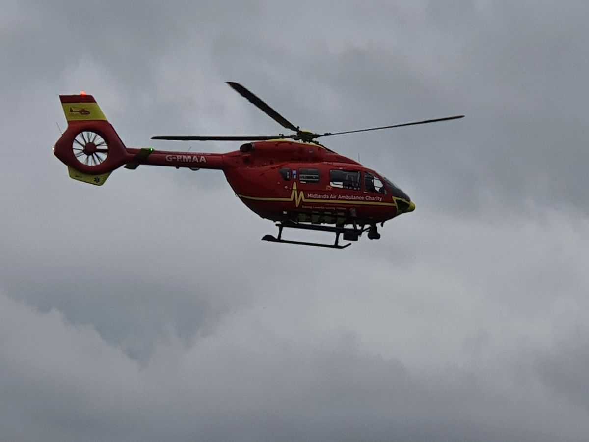 An air ambulance landed in Oakengates this morning