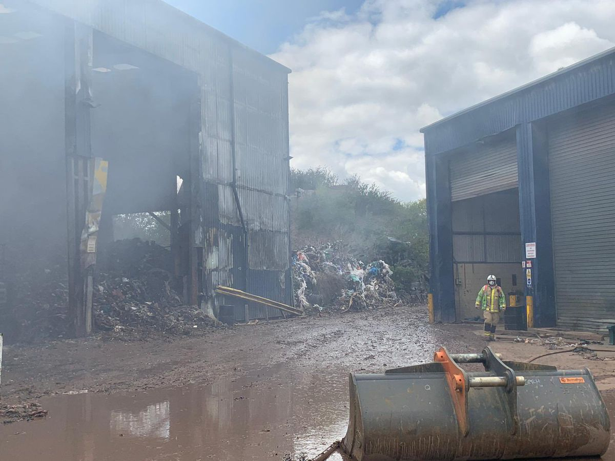 The fire continues to spew smoke a week and a half on. Photo: Market Drayton Fire Station