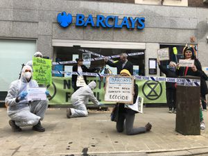 Extinction Rebellion protesters at Barclays in Oswestry