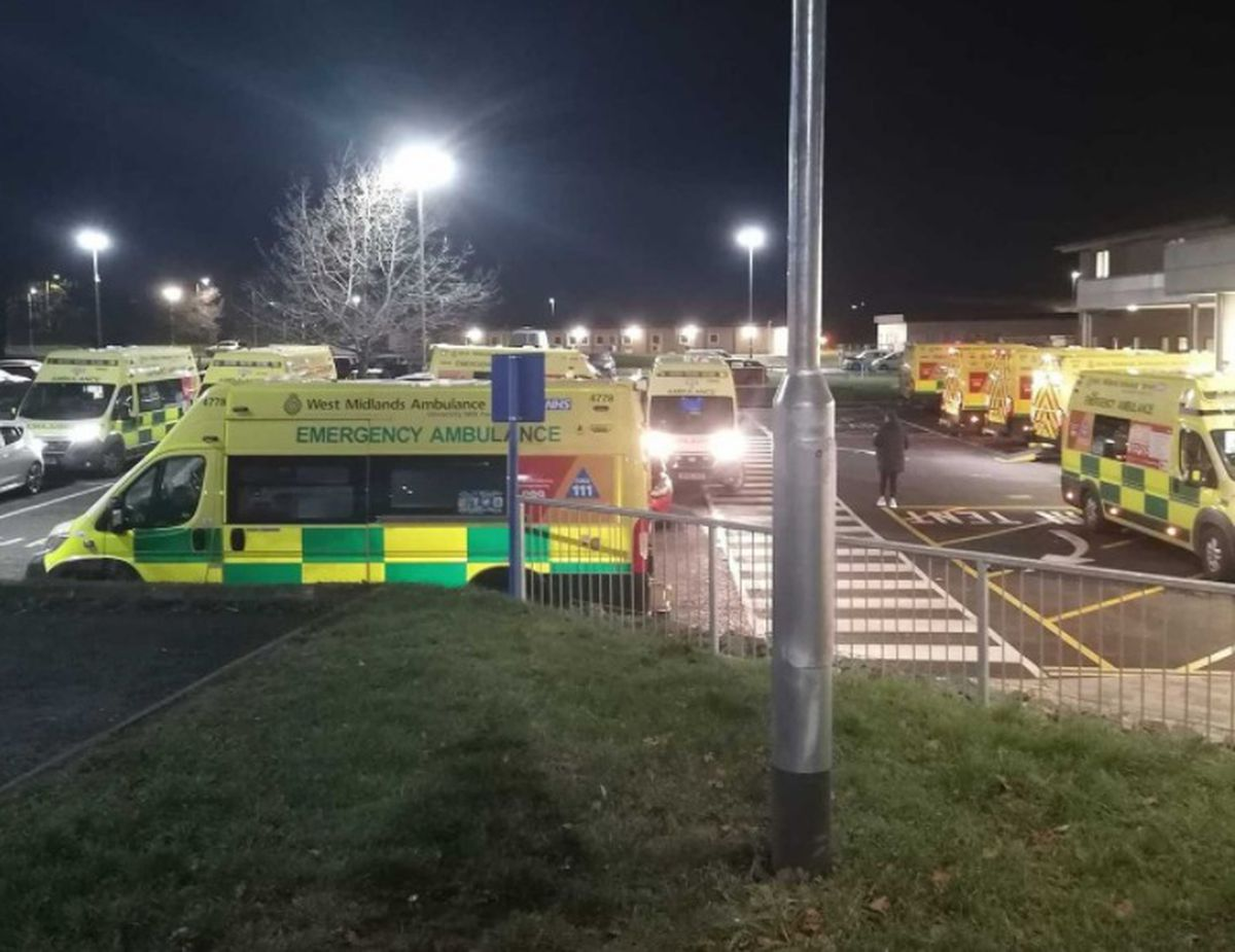 Ambulances waiting outside Princess Royal Hospital in Telford last month. Photo: Dave Hanley