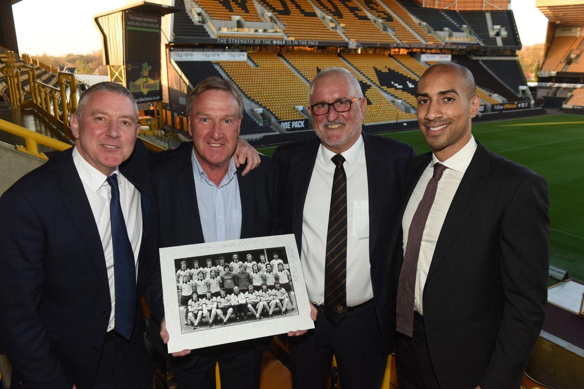 Wolves Former Players dinner Molineux pics by Dave Bagnall LtoR Robbie Dennison, Steve Daley, Richard Green, Karl Henry.
