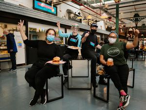 Picture at Wellington Market's new food court. L>R: Lisa Marshall (Escape The Robot), Angela Auerbach and Charlie Mouzakis (Hello Gorgeous!) and Emma Williams (Park Street Kitchen)