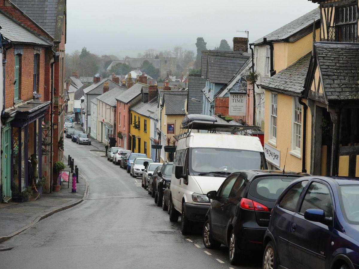 Cars parked at High Street, Bishop's Castle