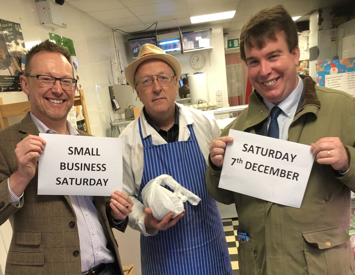 Russell George and Conservative parliamentary candidate Craig Williams at IC Quality meats in Ladywell Centre in Newtown