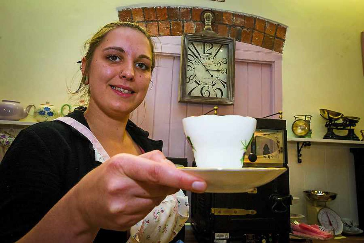 Alice Hodgson helping out at Maws Vintage Tea Rooms