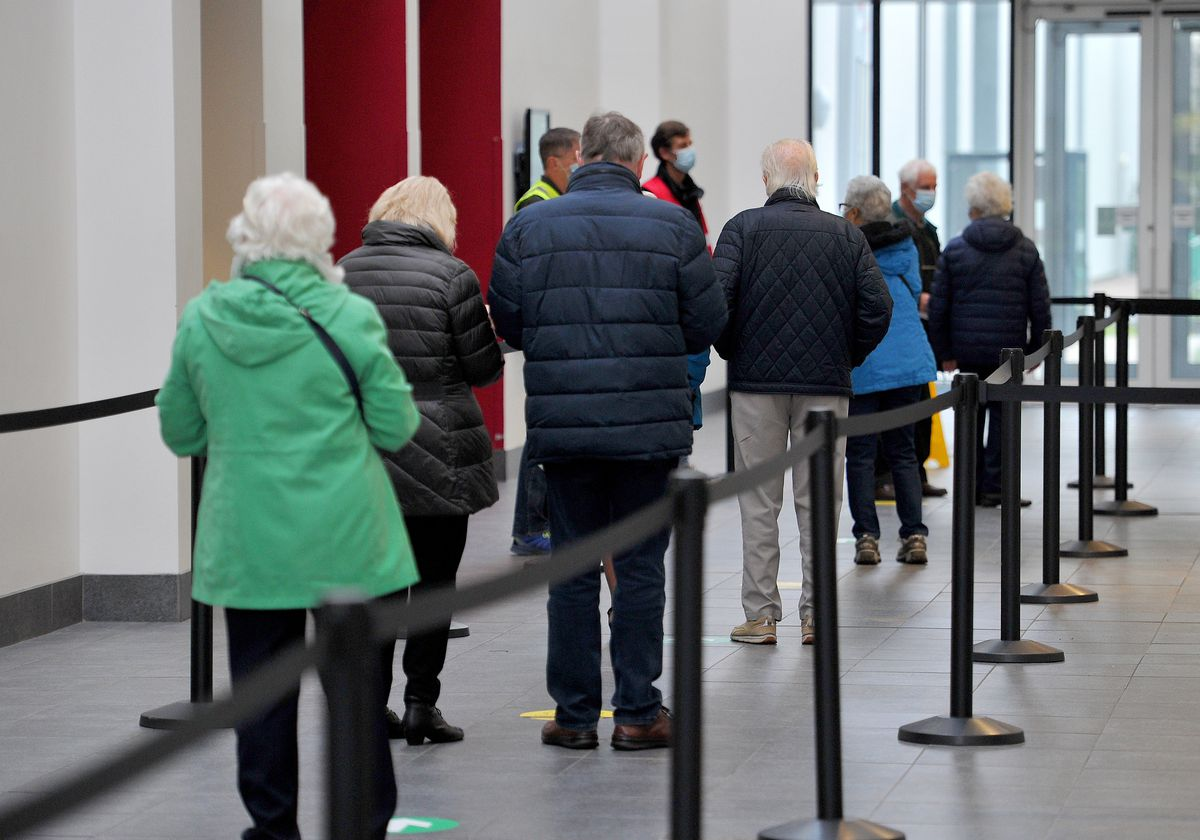 Patients queue up to get their jabs at Telford International Centre