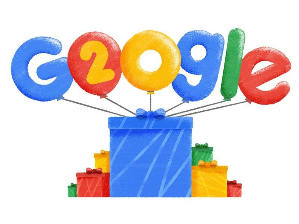 Google celebrates 20th birthday with offbeat doodle