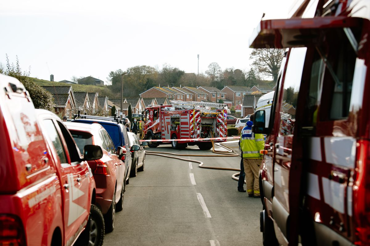 Emergency services at the incident in Cressage