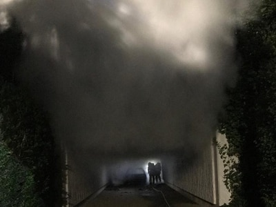 Crews battle car fire in Telford underpass
