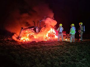 The tractor was engulfed in flame. Photo: Market Drayton Fire Station