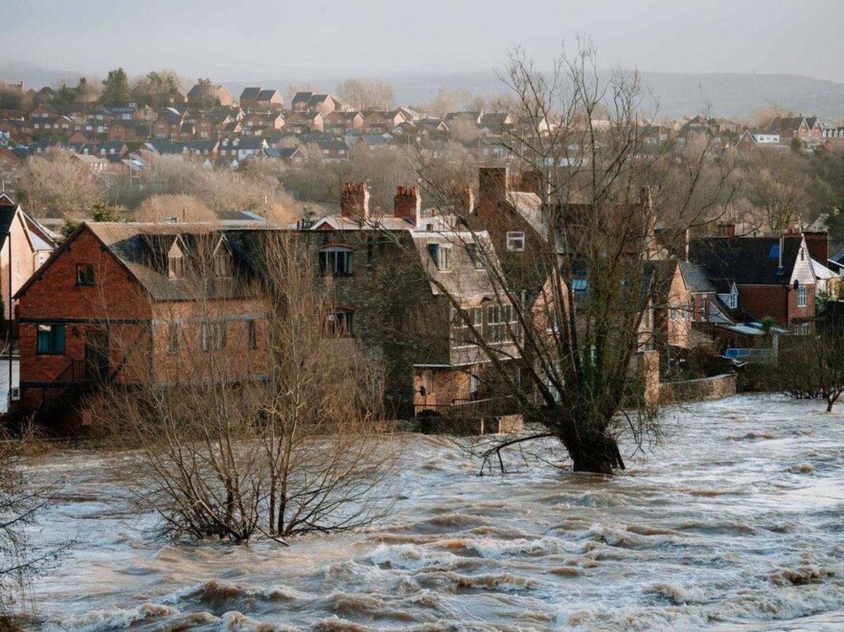 The River Teme in Ludlow during the flooding in February 2020