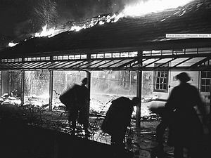 Crews battle to extinguish the flames that gutted Shropshire Orthopaedic Hospital in January 1948
