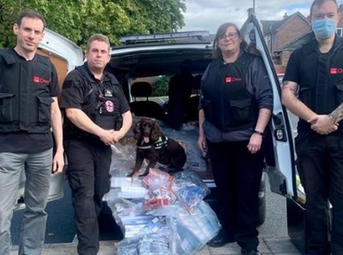 Officers from Telford & Wrekin Council with one of West Mercia Police's search dogs and its handler