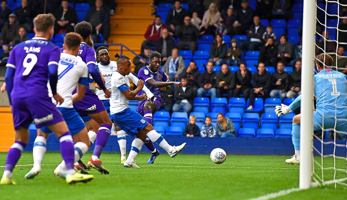 Central defender Aaron Pierre bags his first Shrewsbury goal with the winner at Prenton Park as Town ran out 1-0 winners against Tranmere (AMA)