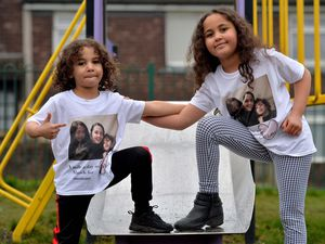LAST COPYRIGHT SHROPSHIRE STAR STEVE LEATH 03/02/2021..Pic in Donnington, Telford of AJ Scott 5 and sister: Aaliyah Scott 8, walking a mile a day in March, inspired by there mom (Emma Clinton, pictured on the T-Shirt),  who has been battling with her health. Supporting them on it, and on some of the pics,  is Teaching Assistant: Charlene Robinson and her daughter McCartney Robinson 8..