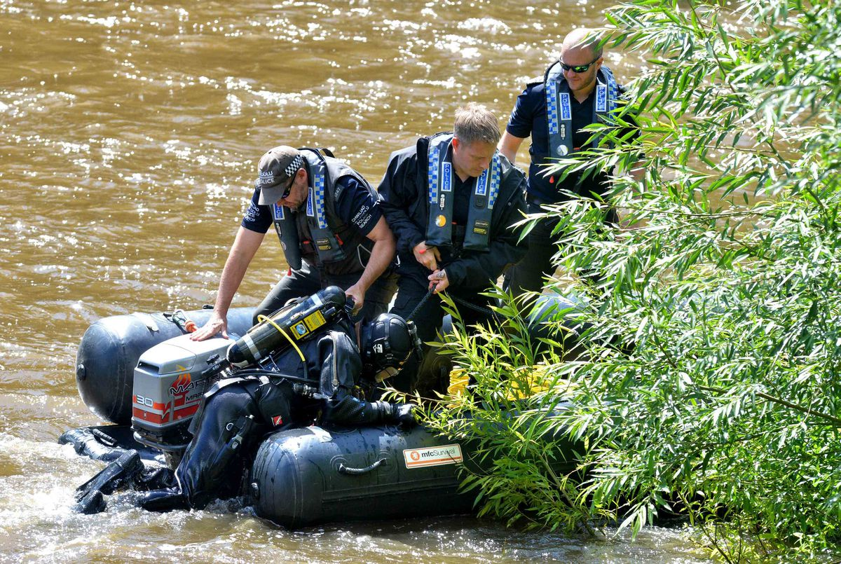 Police searching the River Severn in Coalport, Ironbridge
