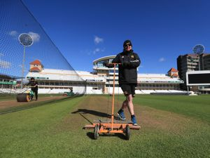 Head Groundsman Steve Birks prepares the Trent Bridge   playing surface ready for the start of the new Cricket season, which begins on Thursday. Picture date: Tuesday April 6, 2021. PA Photo. See PA story CRICKET Nottinghamshire. Photo credit should read: Mike Egerton/PA Wire...RESTRICTIONS: Editorial use only. No commercial use without prior written consent of the ECB. Still image use only. No moving images to emulate broadcast. No removing or obscuring of sponsor logos..