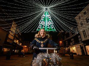Shrewsbury Mayor Gwen Burgess at the lights switch-on