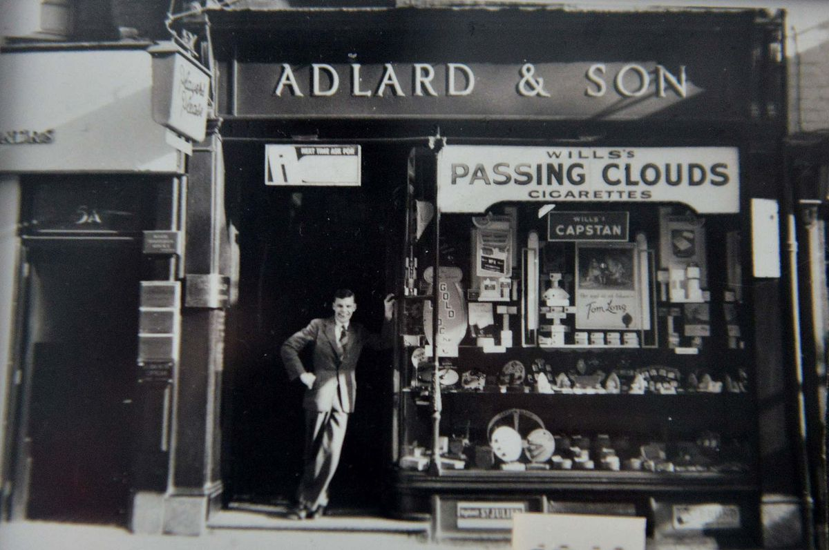 John Adlard pictured in 1949, the year he took over the shop