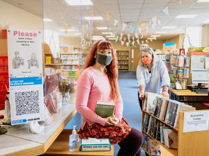 Bishops Castle Library (housed in Enterprise House) are hoping to encourage more people to visit and show that they are Covid safe. In Picture L>R: Tara Lewis and Rachel Hawes
