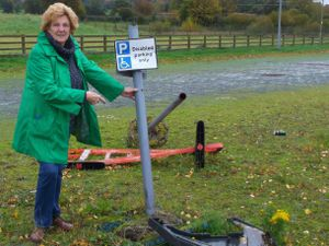 Councillor Viv Parry at the Eco Park which has been damaged