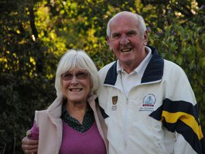 Newly honoured Bill Higginson CBE and his proud wife, Liz.