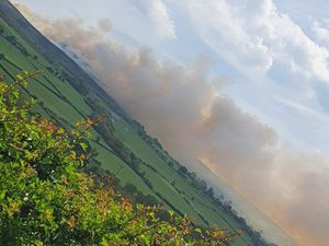 Smoke from the fire in Rhewl. Photo: Claire Douglas