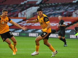 SHEFFIELD, ENGLAND - SEPTEMBER 14: Raul Jimenez of Wolverhampton Wanderers celebrates after scoring a goal to make it 0-1 during his 100th appearance during the Premier League match between Sheffield United and Wolverhampton Wanderers at Bramall Lane on September 14, 2020 in Sheffield, United Kingdom. (Photo by Sam Bagnall - AMA/Getty Images).