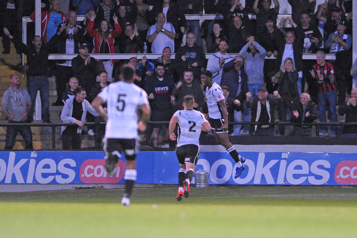 Rowan Liburd of Hereford scores to make it 1-0