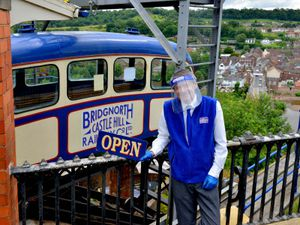 Jim Marshall was there to welcome passengers back to Bridgnorth's spectacular cliff railway as it reopened for business
