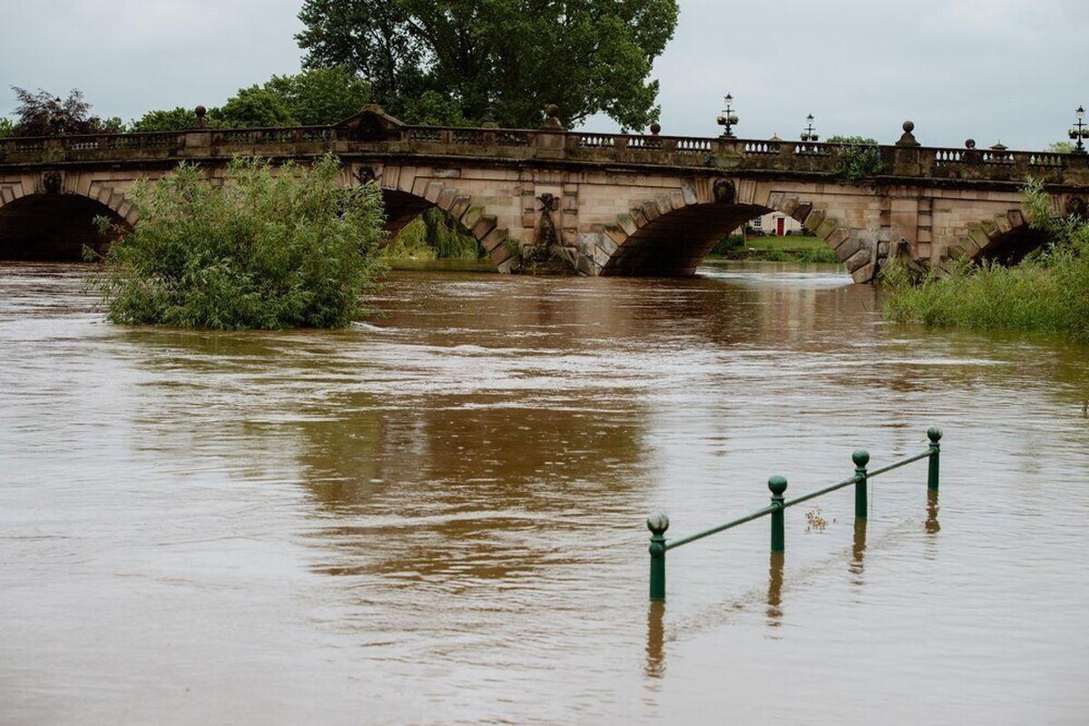 Flooding at Shrewsbury earlier this year