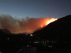 Huge hillside blaze near Oswestry started by unattended bonfire
