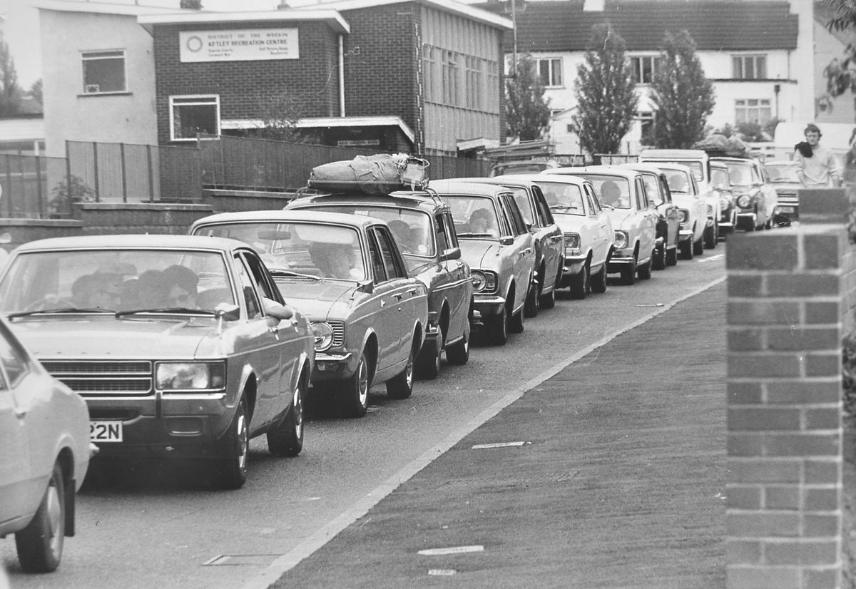 And they thought they were getting away from it all. This nose to tail holiday traffic was on the old A5 at Ketley on July 26, 1975, when the road was the major route to the coast from the West Midlands. The building of the M54 soon after was to relieve the pressure.