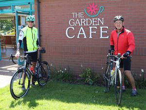 Paramedics John Jones and Ian Laing enjoyed a 40-mile cycle ride on their day off,stopping off en-route at Derwen College's Walled Garden Cafe in Gobowen.