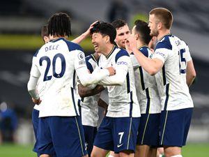 Tottenham Hotspur's Son Heung-min (centre) celebrates