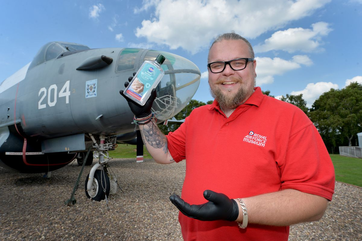 RAF Museum Cosford visitor assistant Simon Thomason gets ready to welcome guests back from July 6