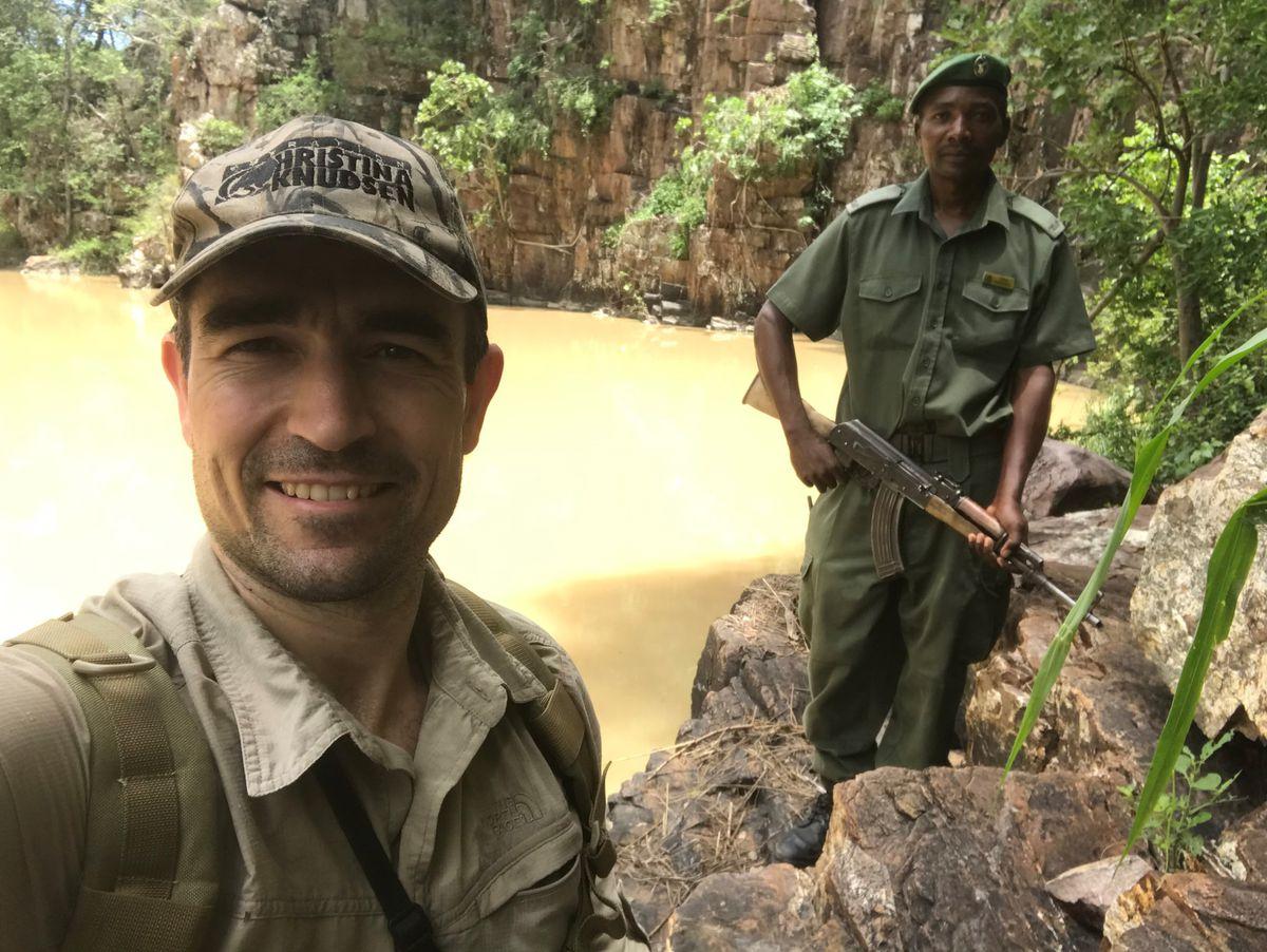 Niall on an anti-poaching patrol in Zimbabwe