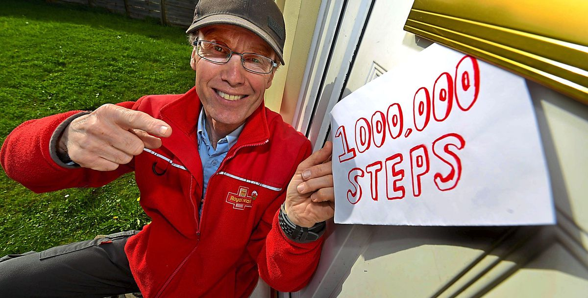 Postman David Hughes has raised more than £1,800 for charity by clocking up 1 million steps in May