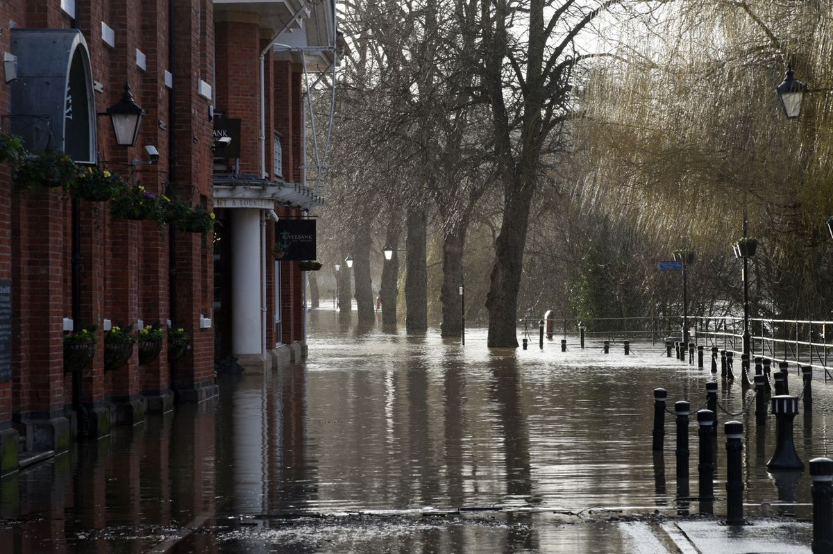 Flooding in Victoria Quay, Shrewsbury, on Monday afternoon. Photo: Russell Davies